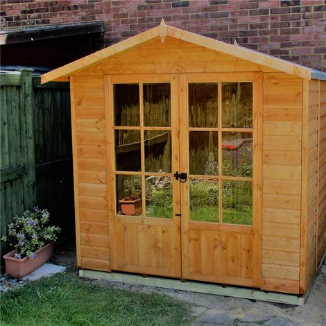 INSTALLED 7 x 5 (1.55m x 2.05m) Premier Wooden Summerhouse - Double Doors - 12mm Tongue And Groove Floor - INCLUDES INSTALLATION