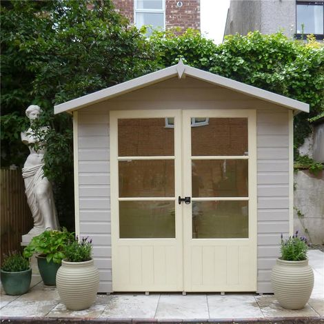 INSTALLED 7 x 5 (1.98m x 1.61m) - Premier Pressure Treated Wooden Summerhouse - 12mm T&G Walls & Floor INSTALLATION INCLUDED