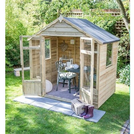 INSTALLED 7 x 5 Pressure Treated Overlap Summerhouse (219cm x 146cm) INSTALLATION INCLUDED