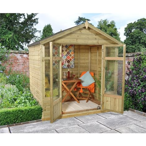 INSTALLED 7 x 5 Tongue and Groove Summerhouse INSTALLATION INCLUDED