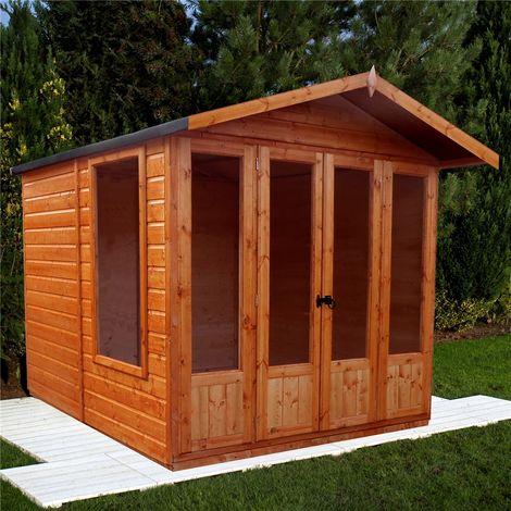 INSTALLED 7 x 7 (2.69m x 2.05m) Premier Wooden Summerhouse - Double Doors + Side Windows - 12mm T&G Walls - Floor - Roof INSTALLATION INCLUDED