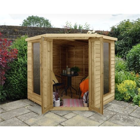 INSTALLED 7 x 7 Overlap Corner Summerhouse (2.96m x 2.30m) INSTALLATION INCLUDED