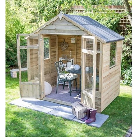 INSTALLED 7 x 7 Pressure Treated Overlap Summerhouse (219cm x 207cm) INSTALLATION INCLUDED