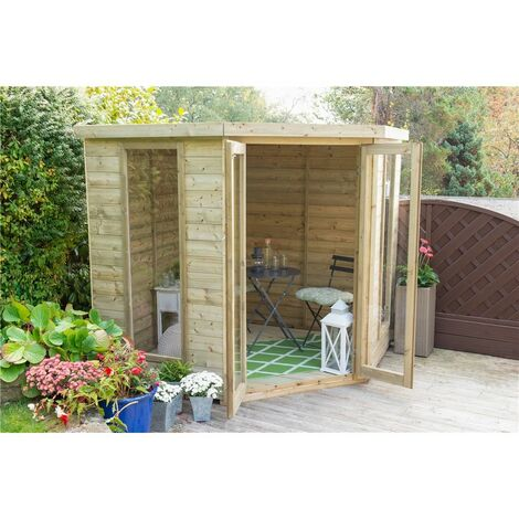INSTALLED 7 x 7 Tongue and Groove Corner Summerhouse (2.96m x 2.30m) INSTALLATION INCLUDED