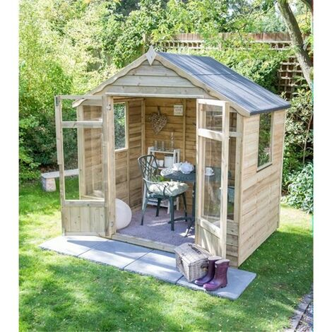 INSTALLED 8 x 6 Pressure Treated Overlap Summerhouse (258cm x 193cm) INSTALLATION INCLUDED (CORE)