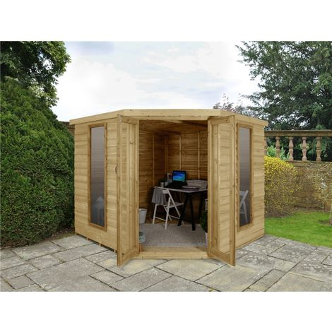 INSTALLED 8 x 8 Overlap Corner Summerhouse (3.46m x 2.80m) INSTALLATION INCLUDED