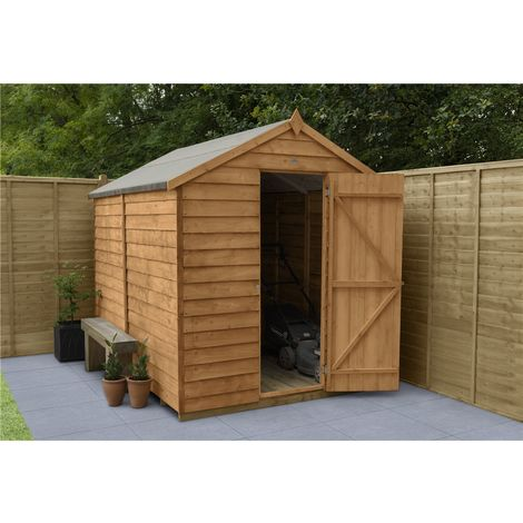 INSTALLED 8ft x 6ft Overlap Apex Windowless Wooden Garden Shed With Single Door (2.4m x 1.9m) - Modular - INCLUDES INSTALLATION