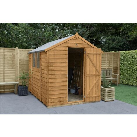 INSTALLED 8ft x 6ft Overlap Apex Wooden Garden Shed With Single Door + 2 Windows (2.4m x 1.9m) - Modular - INCLUDES INSTALLATION - CORE