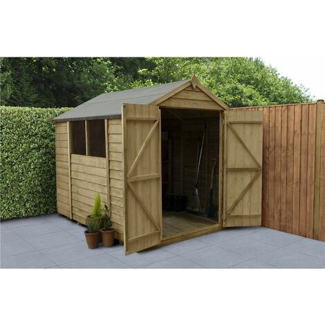 INSTALLED 8ft x 6ft Pressure Treated Overlap Apex Wooden Garden Shed - Double Doors (2.4m x 1.9m) - Modular - INCLUDES INSTALLATION (CORE)