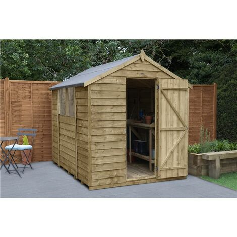 INSTALLED 8ft x 6ft Pressure Treated Overlap Apex Wooden Garden Shed - Single Door (2.4m x 1.9m) - Modular - INCLUDES INSTALLATION (CORE)