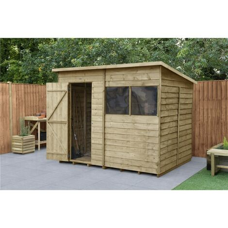 INSTALLED 8ft x 6ft Pressure Treated Overlap Wooden Pent Shed (2.4m x 1.9m) - Modular - INCLUDES INSTALLATION (CORE)