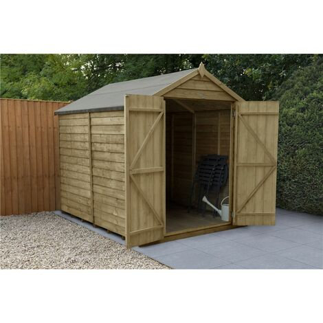 INSTALLED 8ft x 6ft Pressure Treated Windowless Overlap Apex Wooden Garden Shed (2.4m x 1.9m) - Modular - INCLUDES INSTALLATION (CORE)