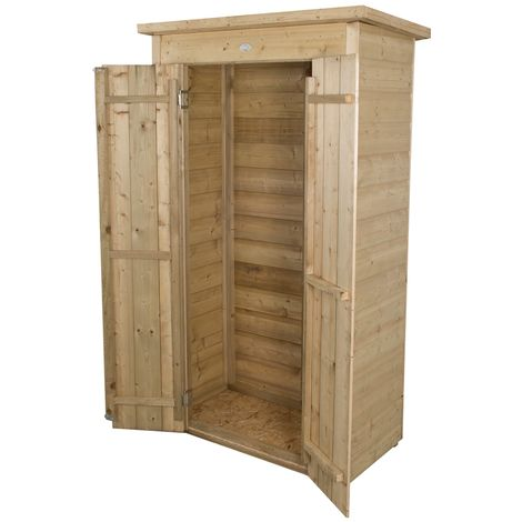 INSTALLED Shiplap Pent Tall Garden Store - Pressure Treated (1.1m x 0.5m) - INCLUDES INSTALLATION