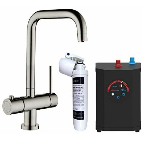 Instant Hot Cold Boiling Water Angular Kitchen Tap Filter Tank Brushed Nickel