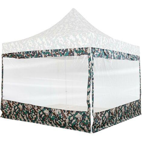 INSTENT® PRO Panneau latéral avec fenêtre panoramique XXL, couleur camouflage, pour tonnelle 3x3m