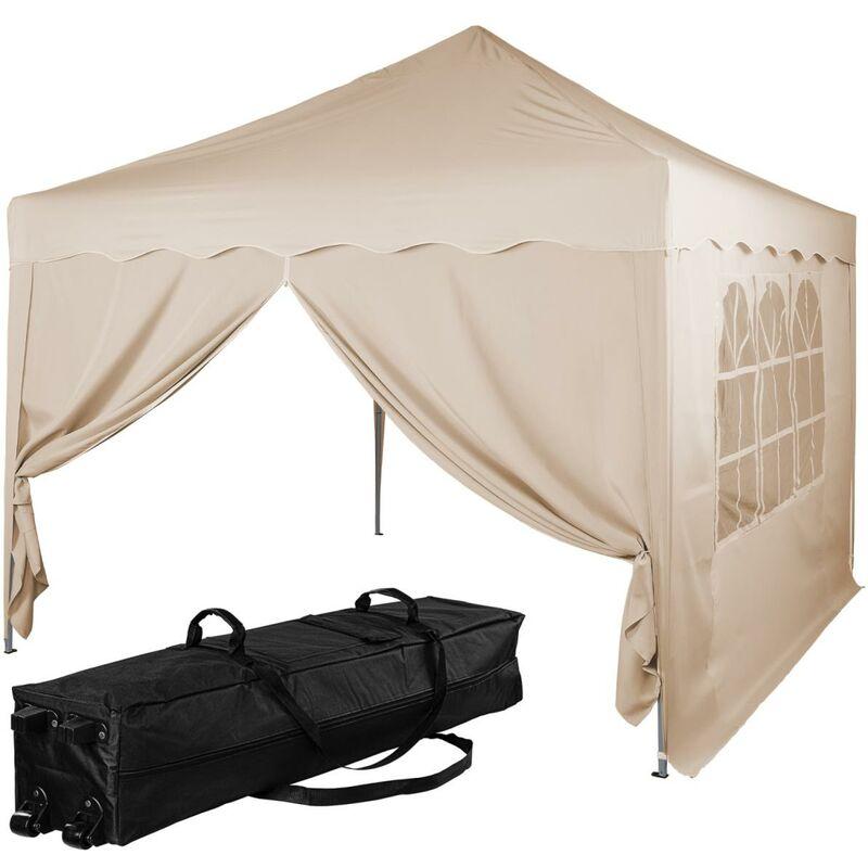 INSTENT® Structure de tonnelle pliante + 2 panneaux, 3x3 m acier > couleur beige, avec sac de transport à roulettes
