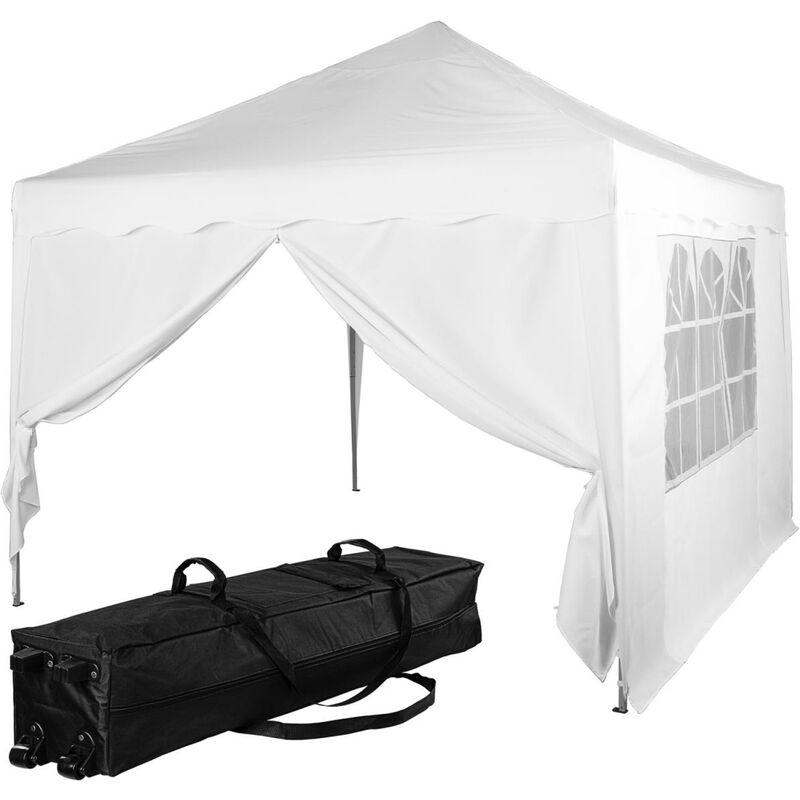 INSTENT® Structure de tonnelle pliante + 2 panneaux, 3x3 m acier > couleur blanc, avec sac de transport à roulettes