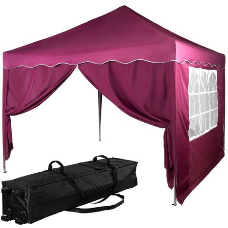 INSTENT® Structure de tonnelle pliante + 2 panneaux, 3x3 m acier > couleur rouge, avec sac de transport à roulettes