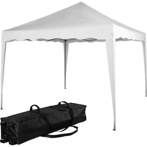 INSTENT® Structure de tonnelle pliante 3x3m acier , couleur blanc, avec sac de transport à roulettes