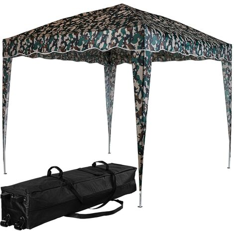 INSTENT® Structure de tonnelle pliante 3x3m acier , couleur camouflage, avec sac de transport à roulettes