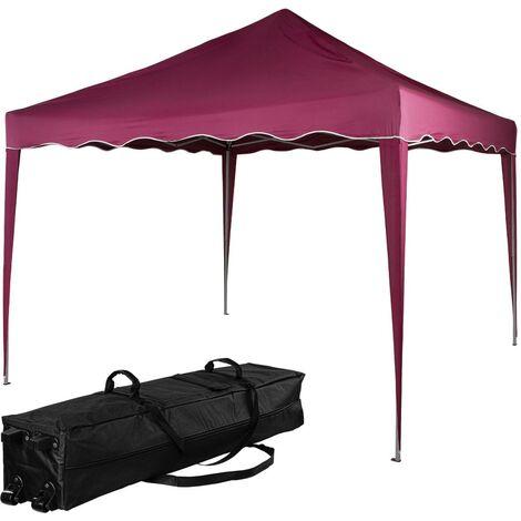 INSTENT® Structure de tonnelle pliante 3x3m acier , couleur rouge, avec sac de transport à roulettes
