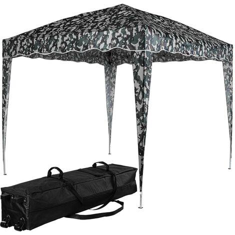 INSTENT® Structure de tonnelle pliante 3x3m acier , couleur urban, avec sac de transport à roulettes