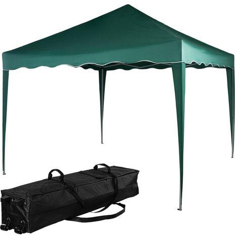 INSTENT® Structure de tonnelle pliante 3x3m acier , couleur vert, avec sac de transport à roulettes