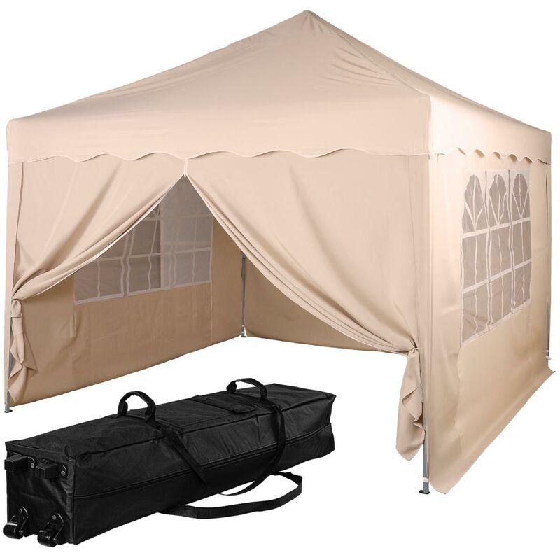 INSTENT® Structure de tonnelle pliante + 4 panneaux, 3x3 m acier > couleur beige, avec sac de transport à roulettes