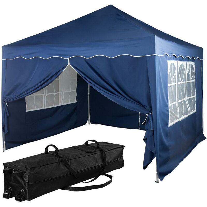 INSTENT® Structure de tonnelle pliante + 4 panneaux, 3x3 m acier > couleur bleu, avec sac de transport à roulettes