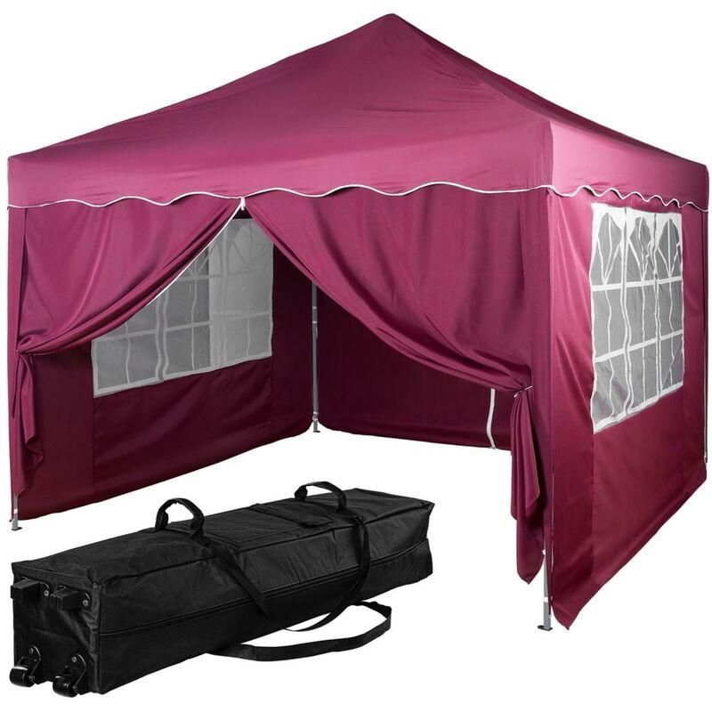 INSTENT® Structure de tonnelle pliante + 4 panneaux, 3x3 m acier > couleur rouge, avec sac de transport à roulettes