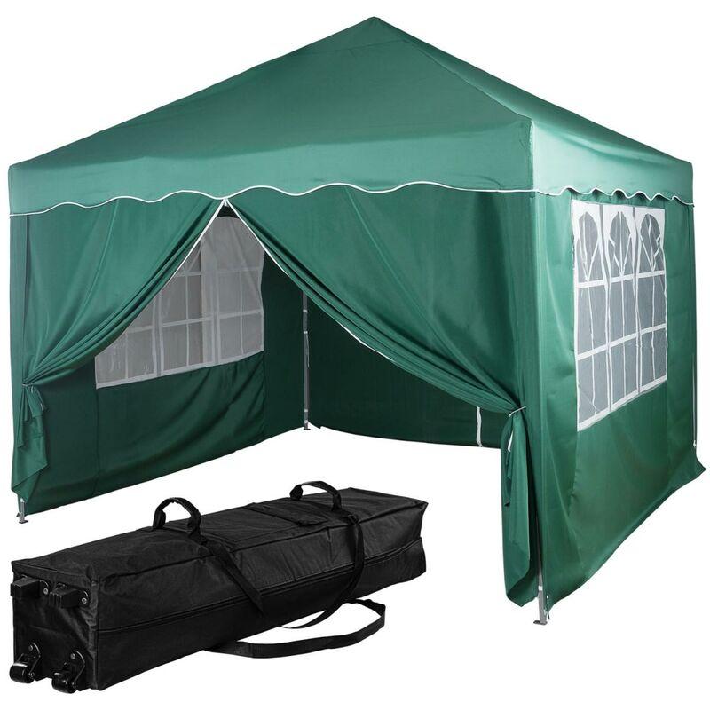 INSTENT® Structure de tonnelle pliante + 4 panneaux, 3x3 m acier > couleur vert, avec sac de transport à roulettes