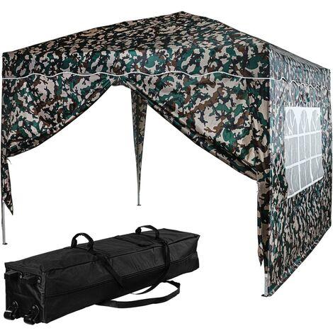 INSTENT® Tonnelle \BASIC\ 3x3 m avec 2 panneaux latéraux (1 fermeture éclair + 1 avec fenêtre), couleur camouflage, avec sac de transport à roulettes