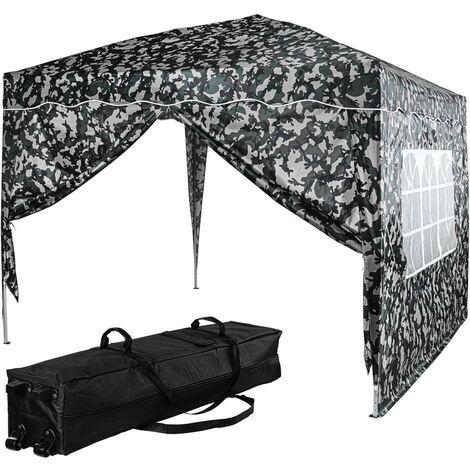 INSTENT® Tonnelle \BASIC\ 3x3 m avec 2 panneaux latéraux (1 fermeture éclair + 1 avec fenêtre), couleur urban, avec sac de transport à roulettes