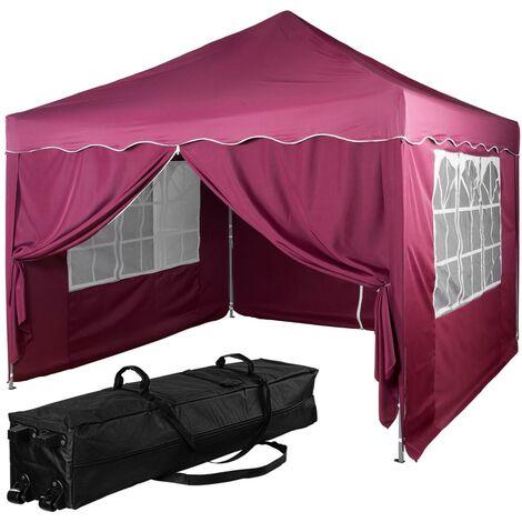 INSTENT® Tonnelle pliante + 4 panneaux, 3x3m acier > couleur rouge, avec sac de transport à roulettes