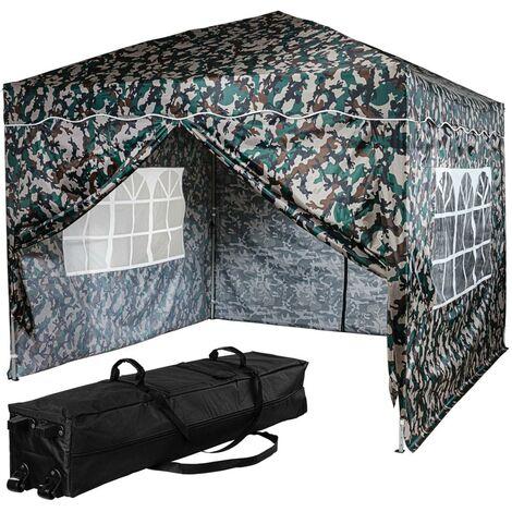 INSTENT® Tonnelle pliante \BASIC\ 3x3 m, 4 panneaux inclus, couleur camouflage avec sac de rangement à roulettes