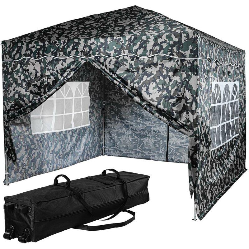 INSTENT® Tonnelle pliante BASIC 3x3 m, 4 panneaux inclus, couleur urban avec sac de rangement à roulettes