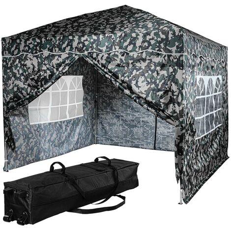 INSTENT® Tonnelle pliante \BASIC\ 3x3 m, 4 panneaux inclus, couleur urban avec sac de rangement à roulettes