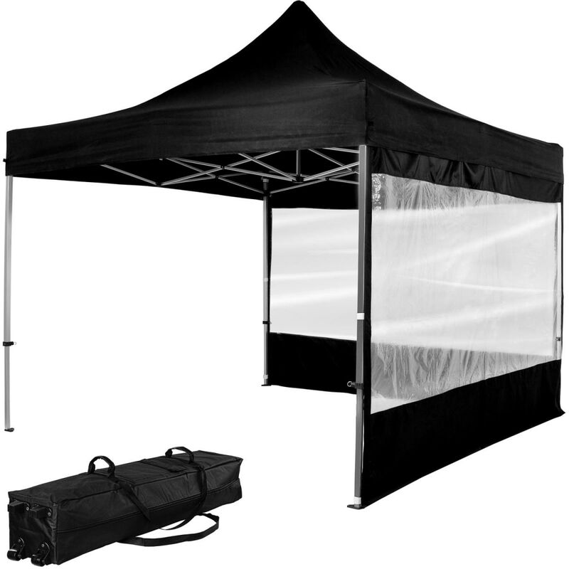 INSTENT Tonnelle PRO 3x3m, Alu, 2 panneaux inclus, couleur noir, avec sac de transport à roulettes