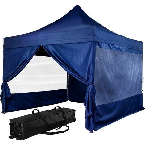 INSTENT Tonnelle PRO 3x3m, Alu, 4 panneaux inclus, couleur bleu, avec sac de transport à roulettes