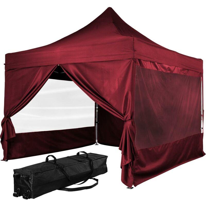 INSTENT Tonnelle PRO 3x3m, Alu, 4 panneaux inclus, couleur rouge, avec sac de transport à roulettes
