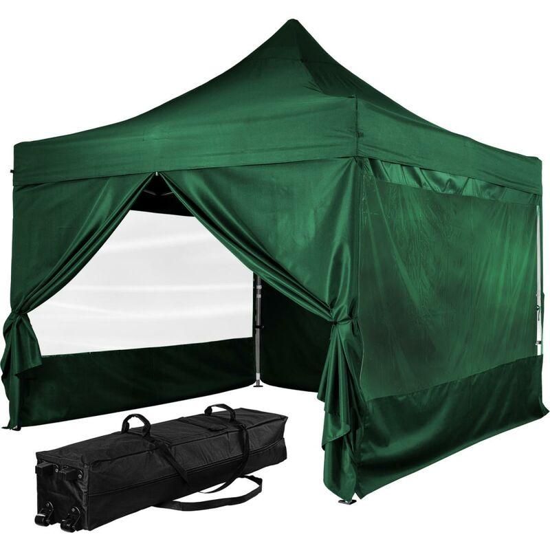 INSTENT Tonnelle PRO 3x3m, Alu, 4 panneaux inclus, couleur vert, avec sac de transport à roulettes
