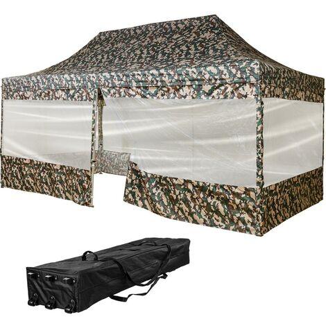 INSTENT® Tonnelle PRO 3x6m, couleur camouflage, avec sac de transport à roulettes