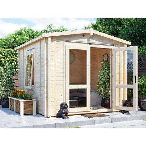 Insulated Garden Log Cabin WarmaLog Avon 3m x 3m Warm Man Cave Home Office Summer House Double Glazing Toughened Glass