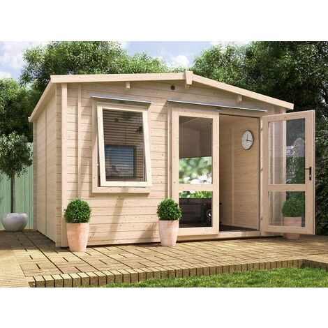 Insulated Garden Log Cabin WarmaLog Rhine 4m x 3m Warm Man Cave Home Office Summer House Double Glazing Toughened Glass