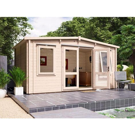 Insulated Garden Log Cabin Warmalog Severn - Warm Man Cave Home Office Summer House Double Glazing Toughened Glass