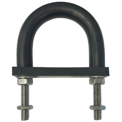 Insulating Rubber Lined U-bolt and Backing pad 81 mm ID (suit 65 mm NB pipe)-T316 Stainless Steel