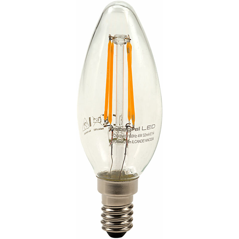 Image of E14 Candle Filament LED Bulb 4W (36W) Warm White 2700K 420lm ND - Integral Led