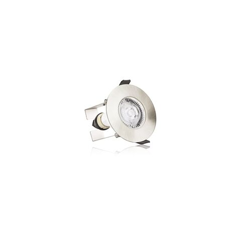 Integral Evofire IP65 Round Satin Nickel 70mm Cutout Downlight with GU10 Holder & Insulation Guard - ILDLFR70D004