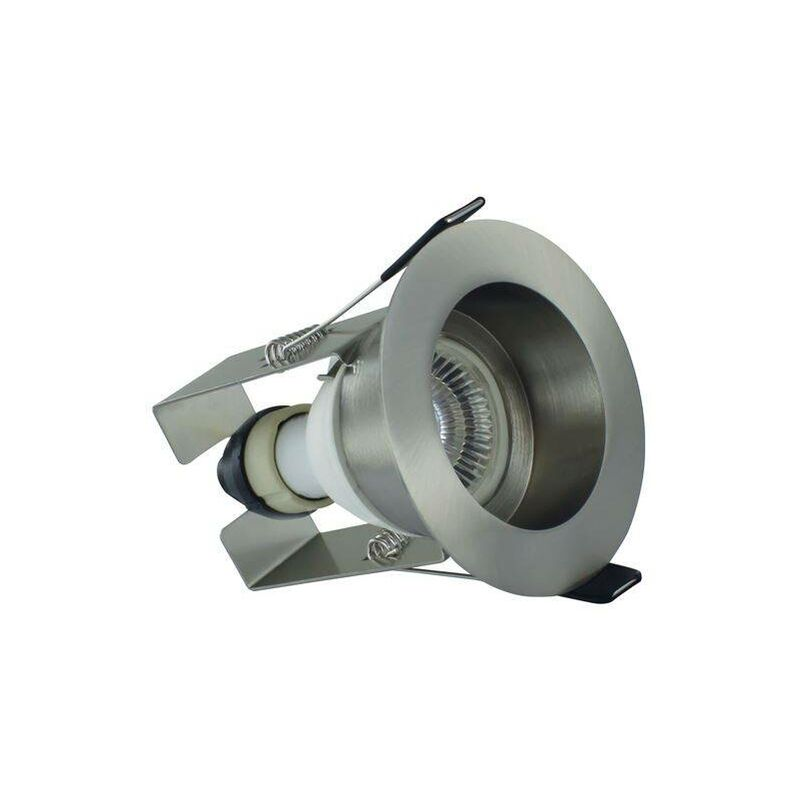Image of Integral - LED Fire Rated Downlight Recessed Insulation Guard / GU10 Holder Satin Nickel IP65 - INTEGRAL LIGHTING