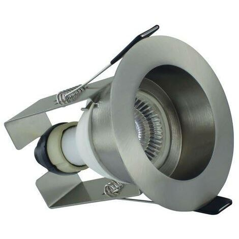 Integral - LED Fire Rated Downlight Recessed Insulation Guard / GU10 Holder Satin Nickel IP65